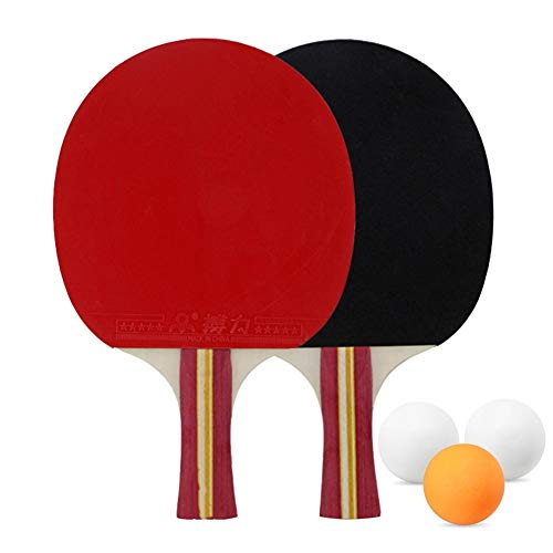 New CHQUC Table Tennis Kit, Table Tennis Racket Set 2 Ping Pong Paddles and 3 Ping Pong Balls for In...