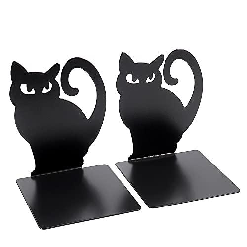 YAOLAN Sujetalibros de Metal Negro, Resistente Antideslizante Diseño de Moda Gato Apoyalibros para la Biblioteca del Dormitorio Material Escolar Artículos de Papelería, 1 Pares