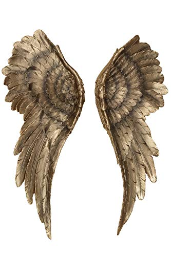 WHW Whole House Worlds Grand Tour Angel Wings, 2 Piece Set, Vintage Style, Antique Golden Gilt, Artisinal Design, Hand Crafted, Bas Relief Sculptures, 21.75 H