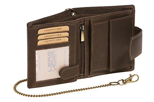 LEAS MCL Bikerkombibörse mit Außenverschluss Kette (mit Box) Vintage in Echt-Leder, braun - LEAS Chain-Series