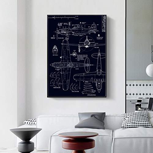 EPSMK Stampa Tela Semplice Nordic Industrial Windcraft Manufacturing Disegno Blueprint Linea in Bianco e Nero Canvas Art Picture Wall Home Decor
