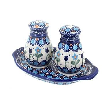 Polish Pottery Savannah Salt & Pepper Shakers with Dish