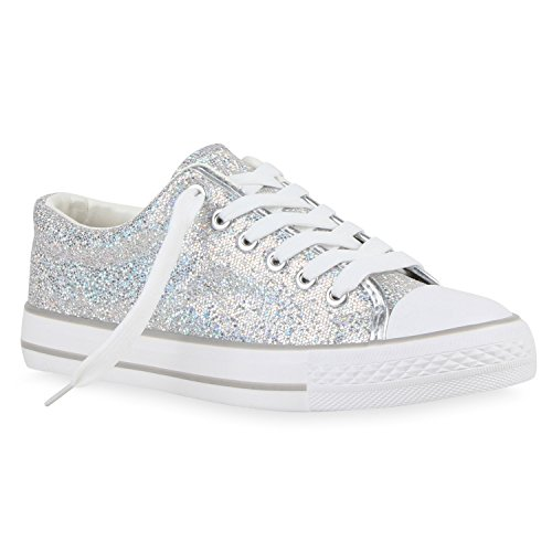 stiefelparadies Glitzer Damen Sneakers Sneaker Low Metallic Schnürer Denim Flats Turn Sport Schuhe 118604 Silber Glitzer 36 Flandell