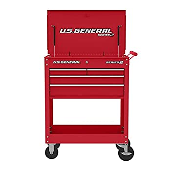 Roller Cart Tool Cabinet Storage Chest Box Glossy 4 Drawer 580 Lb Capacity - RED