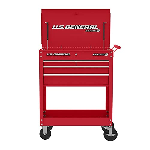 Roller Cart Tool Cabinet Storage Chest Box Glossy 4 Drawer 580 Lb. Capacity - RED