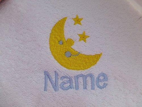EFY Peignoir de bain à capuche pour bébé ou serviette blanche avec logo lune et étoiles et nom de votre choix (peignoir pour bébé de 0 à 9 mois)