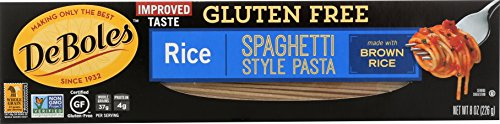 DeBoles Gluten-Free Rice Pasta, Spaghetti, 8 Ounce (Pack of 12) (Packaging may Vary)