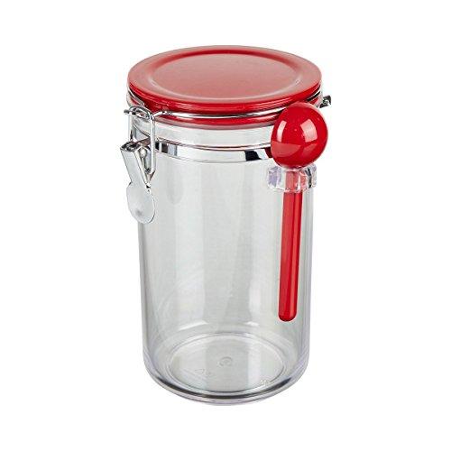 TRI 0460184 Aufbewahrungsbehälter inkl. Löffel mit Aromaverschluss-Deckel Kunststoff luftdicht transparent/rot