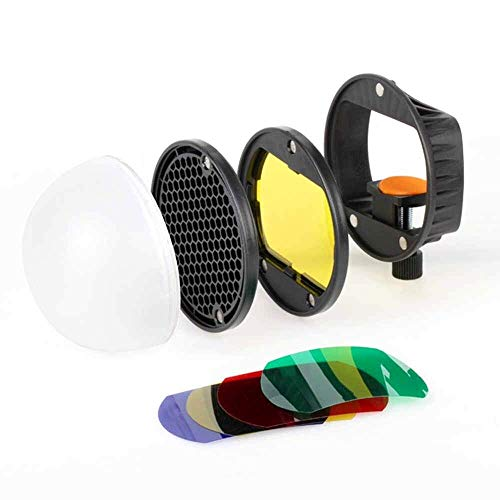 HIFFIN® Flash Diffuser Light Softbox Speedlite Flash Accessories Kit Color Filter Honeycomb Grid Reflector Diffuser Ball with Universal Magnetic Mount for Canon Sony Hiffin Speedlite