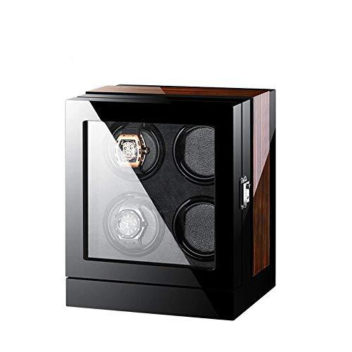 AMITD - Expositor Giratorio para Relojes, 4 Relojes de Madera, Caja para Guardar Relojes, Caja para Relojes, Caja para Relojes, Vitrina para Relojes, Caja para Relojes, Color Negro y marrón