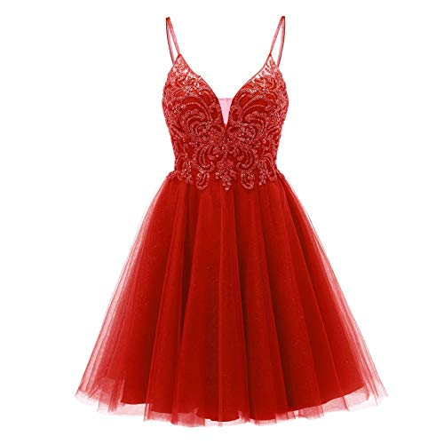 Tulle Homecoming Dresses Short Prom Formal Cocktail Quinceanera Dress Glitter Beaded Gowns Red Size 4