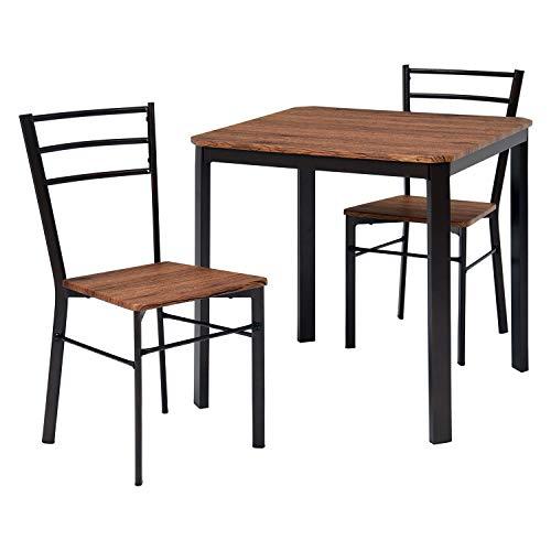 萩原 ダイニングテーブル セット 2人用 【ヴィンテージ調】チェア2脚 ブラウン LDS-4933BR