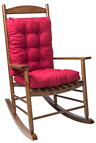 Rocking Chair Cushion Set with Ties,2 Piece Non-Slip Seat/Back Chair Cushion Replacement Indoor/Outdoor Soft Thickened Patio Chaise Lounger Swing Bench Cushion Patio Recliner Chair Pads (D1/red)