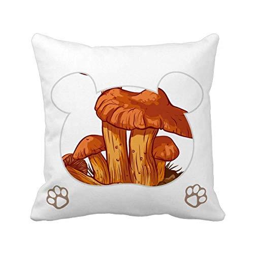 Funda cuadrada para cojín con diseño de oso de seta de color naranja