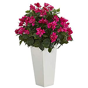 Artificial 31″ Bougainvillea Pink Flowers Floral Plant in White Tower Planter