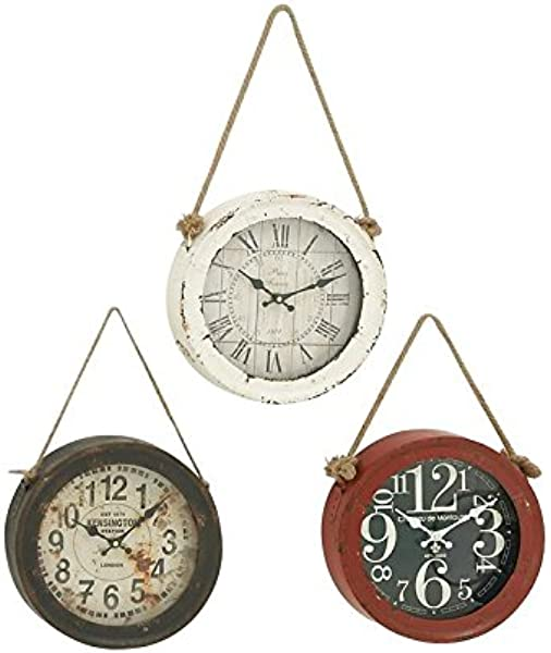 Woodland Imports 52541 Metal Wall Clock Set Of 3