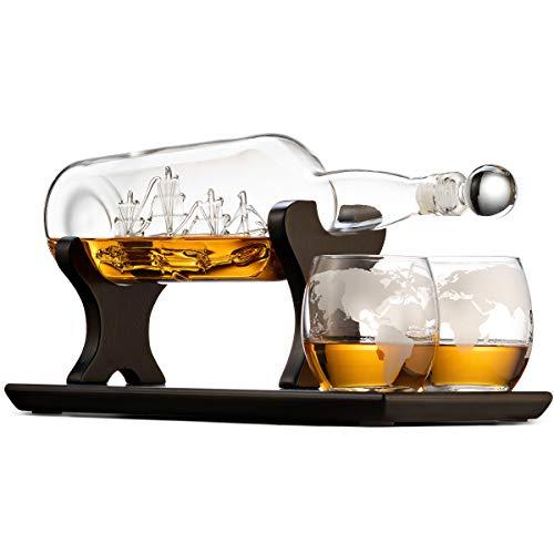 Godinger Ship In A Bottle Whiskey Decanter and Glasses Bar Set