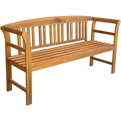 Festnight Banc de Jardin en Bois pour terrasse ou Patio Banc l'intérieur et à l'extérieur pour 3 Personnes 157 x 45 x 82,5 cm