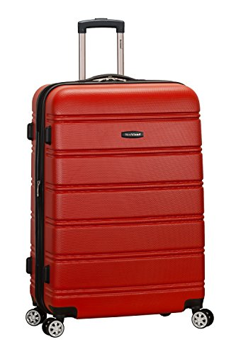 Rockland Melbourne Hardside Expandable Spinner Wheel Luggage, Red, Checked-Large 28-Inch