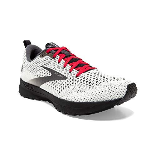 Brooks Mens Revel 4 Running Shoe - White/Black/Red - D - 12