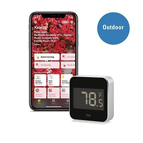 Elgato Eve Degree, Monitor de Temperatura y Humedad con Tecnología HomeKit de Apple, Bluetooth Low Energy