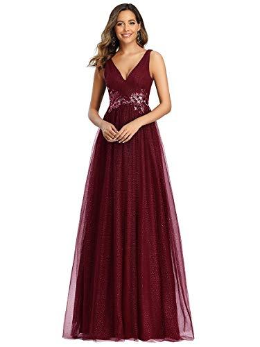 Ever-Pretty Vestido de Fiesta Largo Mujer Tul Lentejuelas Corte Imperio Apliques Escote V...