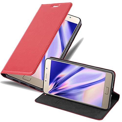 Cadorabo Hülle für Lenovo P2 - Hülle in Apfel ROT – Handyhülle mit Magnetverschluss, Standfunktion & Kartenfach - Hülle Cover Schutzhülle Etui Tasche Book Klapp Style