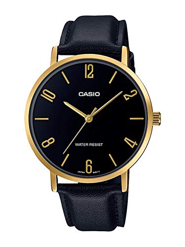 Casio MTP-VT01GL-1B2 Men's Minimalistic Gold Tone Black Leather Band Black Dial 3-Hand Analog Watch