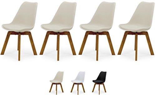 TENZO 3340-354 Cleo-Juego de sillas de diseño (Madera, 82 x 48 x 54 cm), Color, Asiento de plástico con cojín de Piel sintética, Gris cálido/Roble, Polypropylen