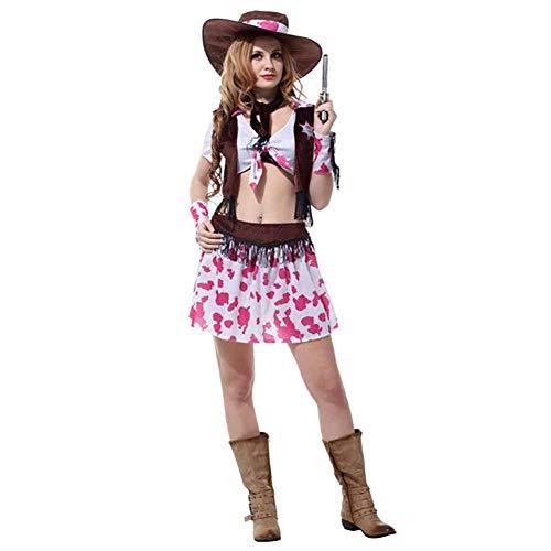 IFANSTYLE Jeans Traje Traje De Cosplay Halloween Carnaval Fiesta Mascarada Mujer Vaquero Occidental Sexy Conjunto De 5 Piezas,Marrón,S