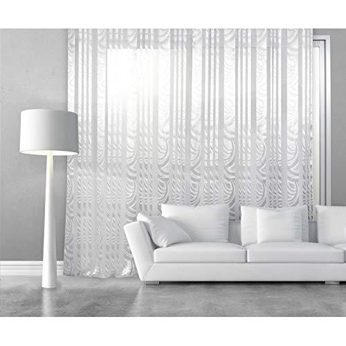RideauDiscount Voilage Grande Largeur 280 x 240 cm à Oeillets Brillant Contemporain Blanc