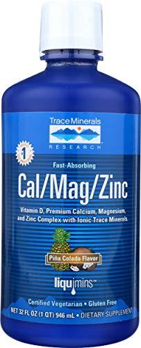 Liquid Cal/Mag/Zinc Natural Pina Colada Flavor 32 Ounces, Vitamin D, Calcium, Magnesium, Zinc, Vegan, Gluten Free