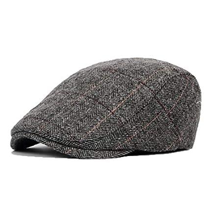 JAOAJ Boinas Hombre Plano Sombreros,Gorra Peaky Blinders,Cabbie Newsboy Hat,Fit(56-59 CM)