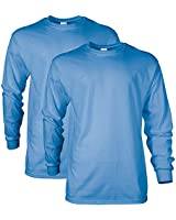 Gildan Men's Ultra Cotton Long Sleeve T-Shirt, Style G2400, 2-Pack, Carolina Blue, Small
