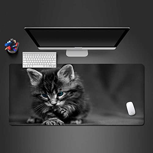 NZTCRFP Alfombrilla De Ratón Gaming Gato Animal Gris Alfombrilla De Escritorio 900X400X3MM,...