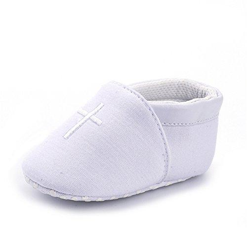 Estamico Baby Jungen Mädchen Weiche Sohle Weiße Kreuz Gestickt Taufschuhe 6-12 Monate
