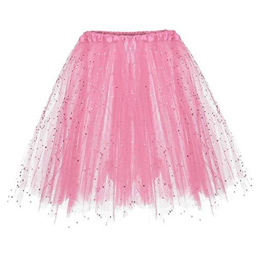 Falda de Tutu Mujer,SHOBDW Niños Princesa Pettiskirt Regalo de cumpleaños Sólido Paillette Elástico 3 Capas Fluffy Mini Falda Corta Adulto Rendimiento Traje Baile Falda(Rosado)