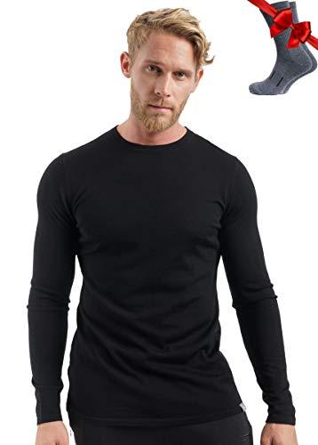 Merino.tech 100% Organic Merino Wool Lightweight Men's Base Layer Long...