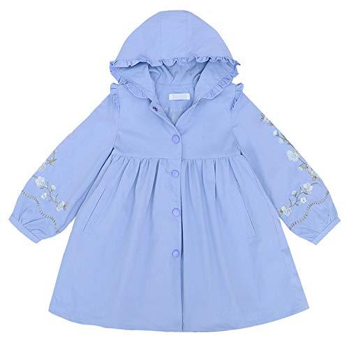 L PATTERN Chaqueta niñas para cremalleras cortavientos de moda serie girl con diseño de cintura con cordón e con capucha, Azul, 4-5 años