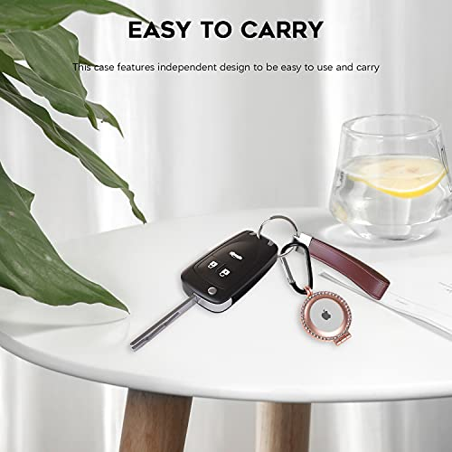 NEWZEROL Cover in Lega di Alluminio Compatibile per AirTag, Custodia con Diamante Scintillante con Portachiavi, Cover Protettiva Antiurto AntiGraffio per AirTag - Oro Rosa