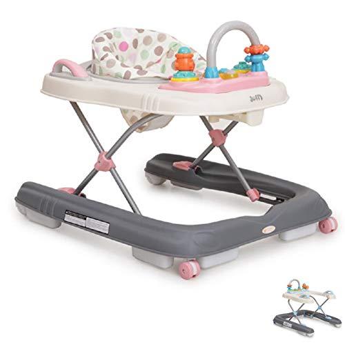 Lauflernwagen Dotty 2 in 1 mit Spielcenter, hohe Rückenlehne, Schwenkräder vorne rosa