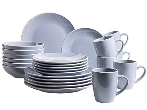 MÄSER 931844 Serie Elissa - Vajilla para 6 personas (cerámica, 24 piezas), color azul y blanco