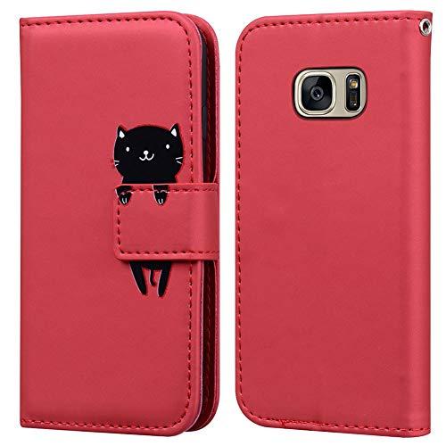 Ailisi Cover Samsung Galaxy S7 Edge, Red Flip Cover Cartoon Cute Cat Custodia Protettiva Caso Libro in Pelle PU con Portafoglio, Funzione Supporto, Chiusura Magnetica - Gatto, Rosso