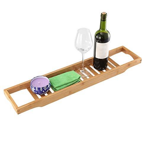 Estante de baño extensible para bañera y ducha, organizador de bambú para toallas y libros de vino, accesorios de organización