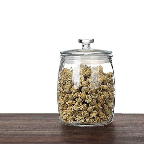 BCGT Large-diameter Glass Storage Jars, Sealed Bottles, Grain Storage Containers, Exhibition Food Display Glass Sugar Jar (Color : 2.1L)