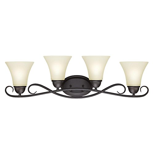 Westinghouse Lighting, Oil Rubbed Bronze 6307000 Dunmore Four-Light Indoor Wall Fixture, Finish with Frosted Glass
