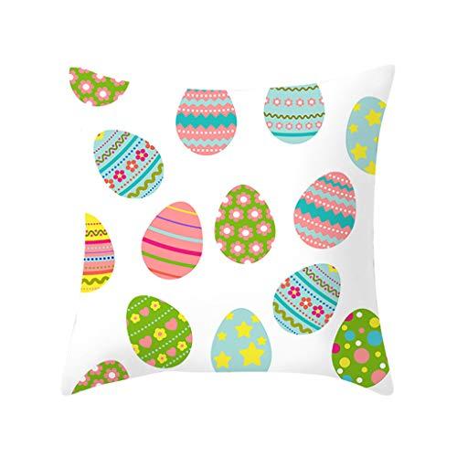 Oppal Funda de Almohada con Estampado de Conejo de Pascua, Funda de cojín de poliéster para sofá, decoración del hogar, Funda de Almohada para el día de Pascua (D)