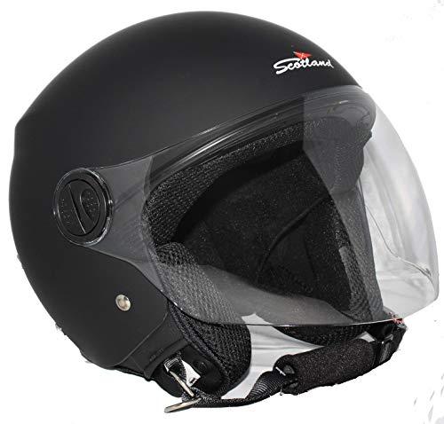 Scotland Motorcycle Dept 120013 NEW Restyling casco moto scooter visiera lunga, Nero opaco, L
