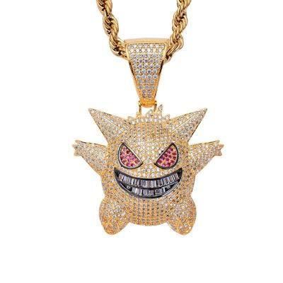 N/ Urbanice - Collar Gengar Hip Hop Diamantes con Cadena (Trap) 60cm