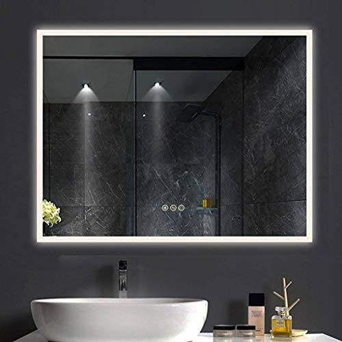 B&C 48x36 Inch LED Lighted Makeup Mirror for Bathroom Vanity with Touch Bottom for Color Temperature, Brightness&Defogger, Ultra-Thin Wall Mounted Backlit Mirror with High Lumen, Vertical/Horizontal